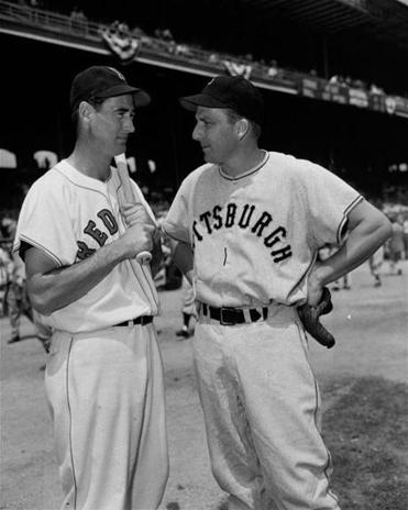 Sluggers Ted Williams and Ralph Kiner got together before the 1950 All-Star Game at Comiskey Park in Chicago.